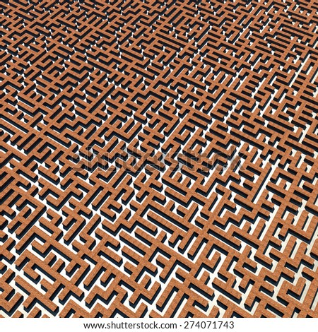 Bricks labyrinth, abstrack background. three dimensional illustration - stock photo