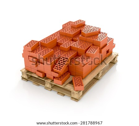 bricks on pallet on white background. 3d render  - stock photo
