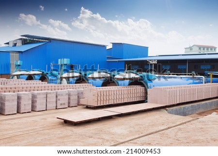 bricks output in warehouse  - stock photo