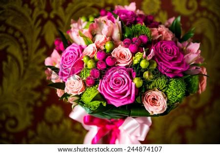 bridal bouquet of fresh flowers - stock photo