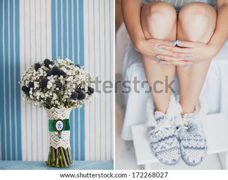 bridal bouquet of Gypsophila and wedding blue manicure - stock photo