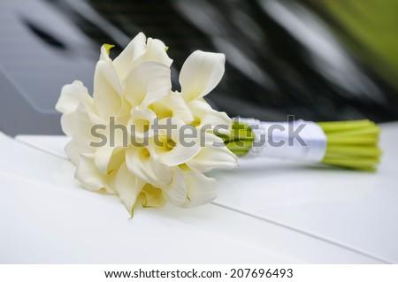 bridal bouquet of white calla - stock photo