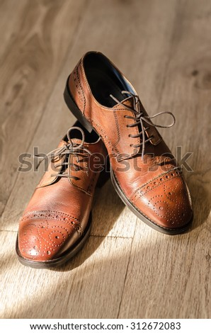 Bridal brown leather groom shoes - stock photo