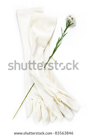 Bridal gloves, vintage accessories on white background. - stock photo