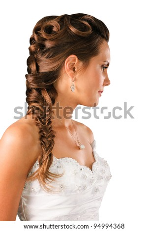 bridal hairdo with a plate isolated on white background - stock photo