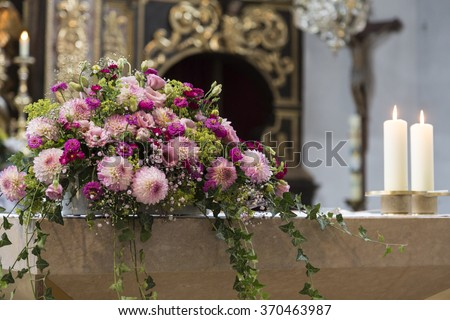 Bridal Impressions - floral decoration at the altar - stock photo