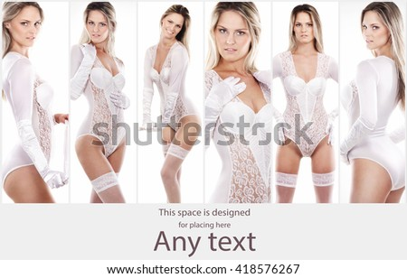 Bridal lingerie collection. Woman posing in beautiful bridal underwear. - stock photo