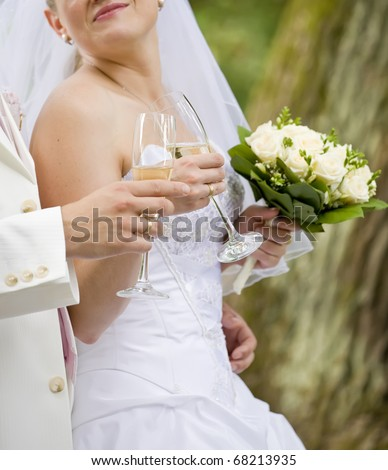 Bride and fiance are holding wedding glass - stock photo