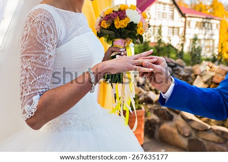 bride and groom and the ring - stock photo