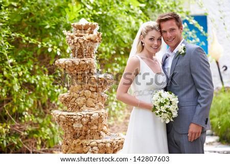 Bride And Groom At Wedding Ceremony - stock photo