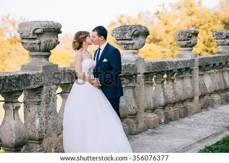 Bride and groom at wedding Day walking Outdoors on castle territory. Bridal couple, Newlywed woman and man embracing with love - stock photo