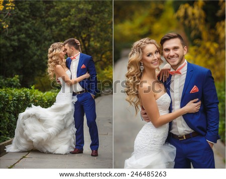 Bride and Groom at wedding Day walking Outdoors on summer green nature. Bridal couple, Happy Newlywed woman and man embracing in green park. Loving wedding couple outdoor. Bride and groom. Collage - stock photo