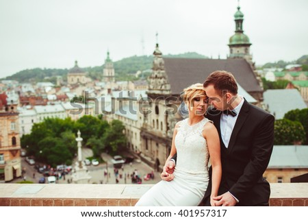 bride and groom enjoy their happy time - stock photo