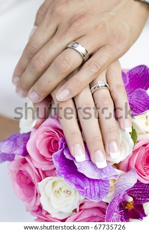 bride and groom hands - stock photo