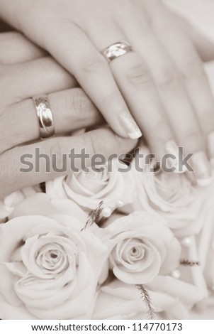 bride and groom hands close up - stock photo