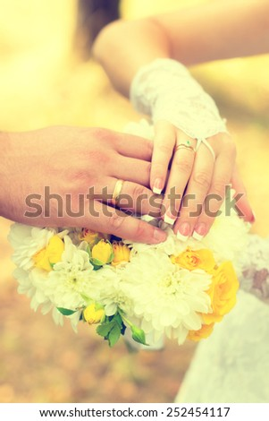 Bride and groom indicate rings - stock photo