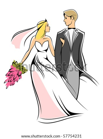 Bride and groom isolated on white. Vector version also available in gallery - stock photo