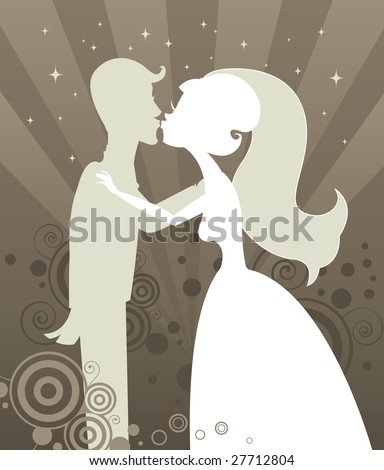 Bride and Groom kissing in silhouette - on a radiant starburst background full of shimmering stars and beautiful swirling graphic elements - stock photo