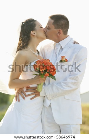 bride and groom kissing with isolated background - stock photo