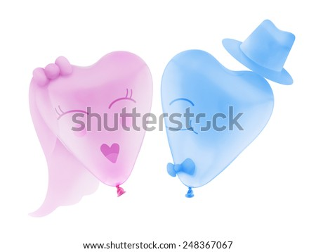 Bride and Groom love heart balloon shape with clipping path - stock photo