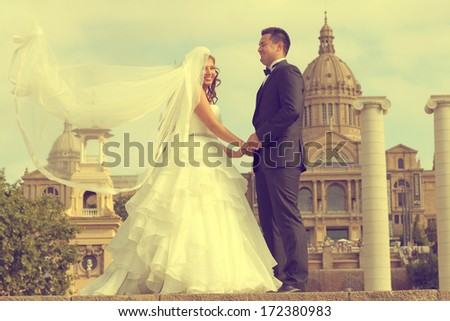 Bride and groom on a sunny day - stock photo