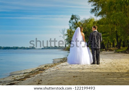 bride and groom on the beach - stock photo