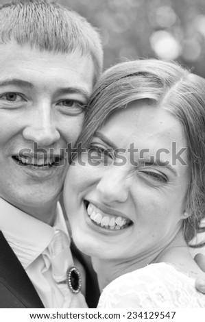 Bride and Groom. Selfie. - stock photo