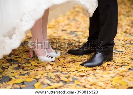 Bride and groom shoes - stock photo