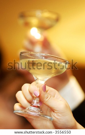 Bride and groom toast - stock photo