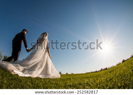 Bride and groom walking on the grass and holding hands in a park. Shot is taken with a wide angle fish eye lens. - stock photo