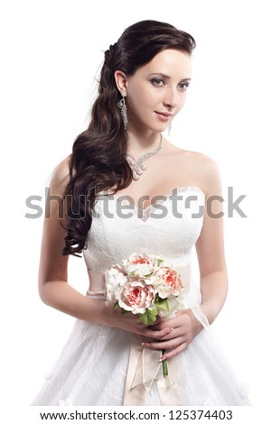 Bride beautiful woman in wedding dress - wedding style. Isolated - stock photo