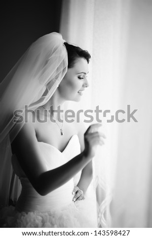 bride, black and white picture of a stunning,  young brunette - stock photo