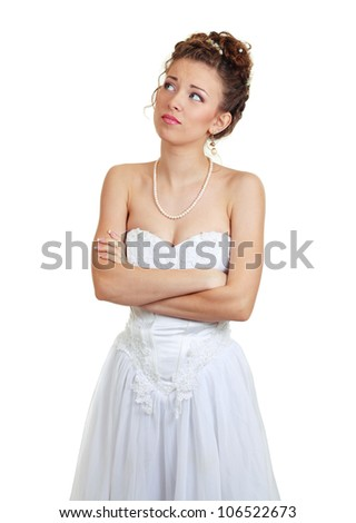 Bride doing expressions on white background, she is doubt in her decision, looking up - stock photo