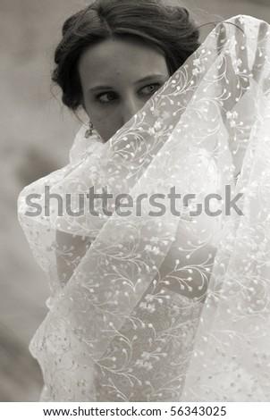 Bride hidden by the wedding veil - stock photo
