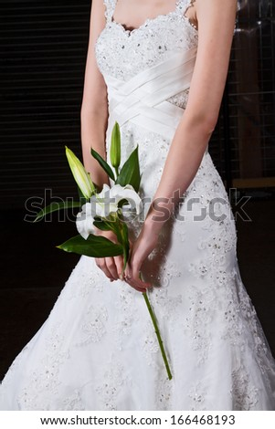Bride Holding White Lily In Stunning Bridal Gown - stock photo