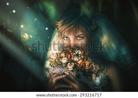 Bride illuminates a magical beam of light on the background of leaves. Portrait of a girl fantasy wedding. - stock photo