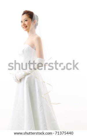 bride in beauty white dress - stock photo