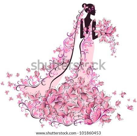 Bride in floral dress with butterfly - stock photo