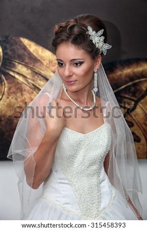 Bride in interer. Weeding day. - stock photo