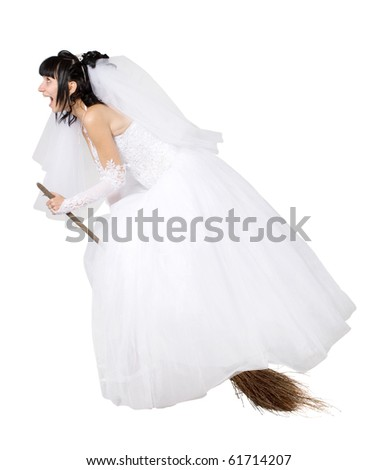 bride in white wedding dress on a broom, on the white - stock photo