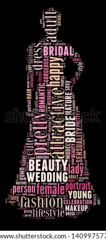 Bride info-colorful text graphic and arrangement concept on black background (word cloud) - stock photo