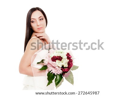 Bride is posing with bouquet over white isolated background - stock photo
