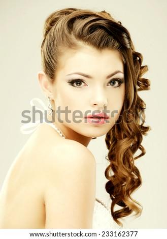 Bride portrait.Wedding dress. Studio shot. - stock photo
