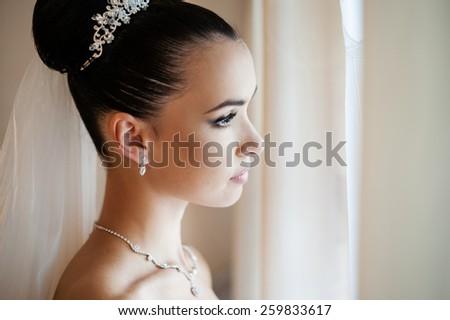 Bride portrait with accessories - stock photo