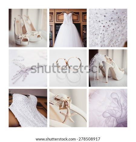 Bride's wedding accessories in blue colors - stock photo