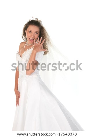 Bride Showing Off Her Diamond Engagement Ring - stock photo