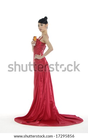 Bride toasting with champagne - stock photo