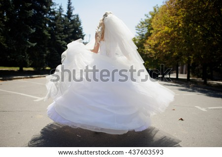 Bride turned in a magnificent white dress and veil. On gray asphalt among high park trees the slender girl in a bridal outfit. It was turned by a back to the camera. - stock photo