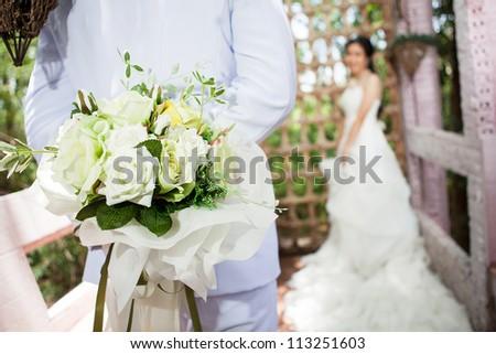 Bride wedding flowers bouquet - stock photo