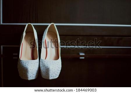 bride wedding shoes - stock photo